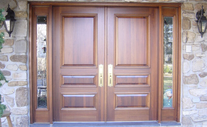 Wooden front door, Classic style, Raised panels, side panels and clear glass, made of solid wood